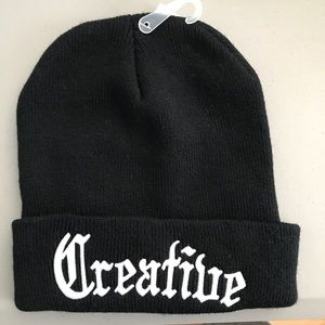 """New beanie w """"Creative"""" embroidered on it"""